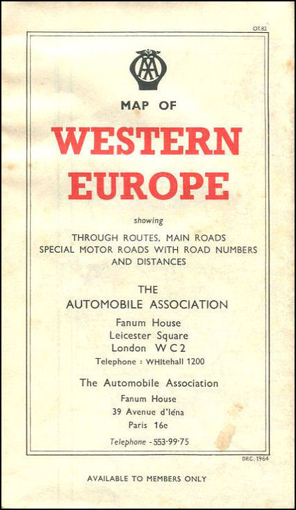Image for AA Map of Western Europe 1964