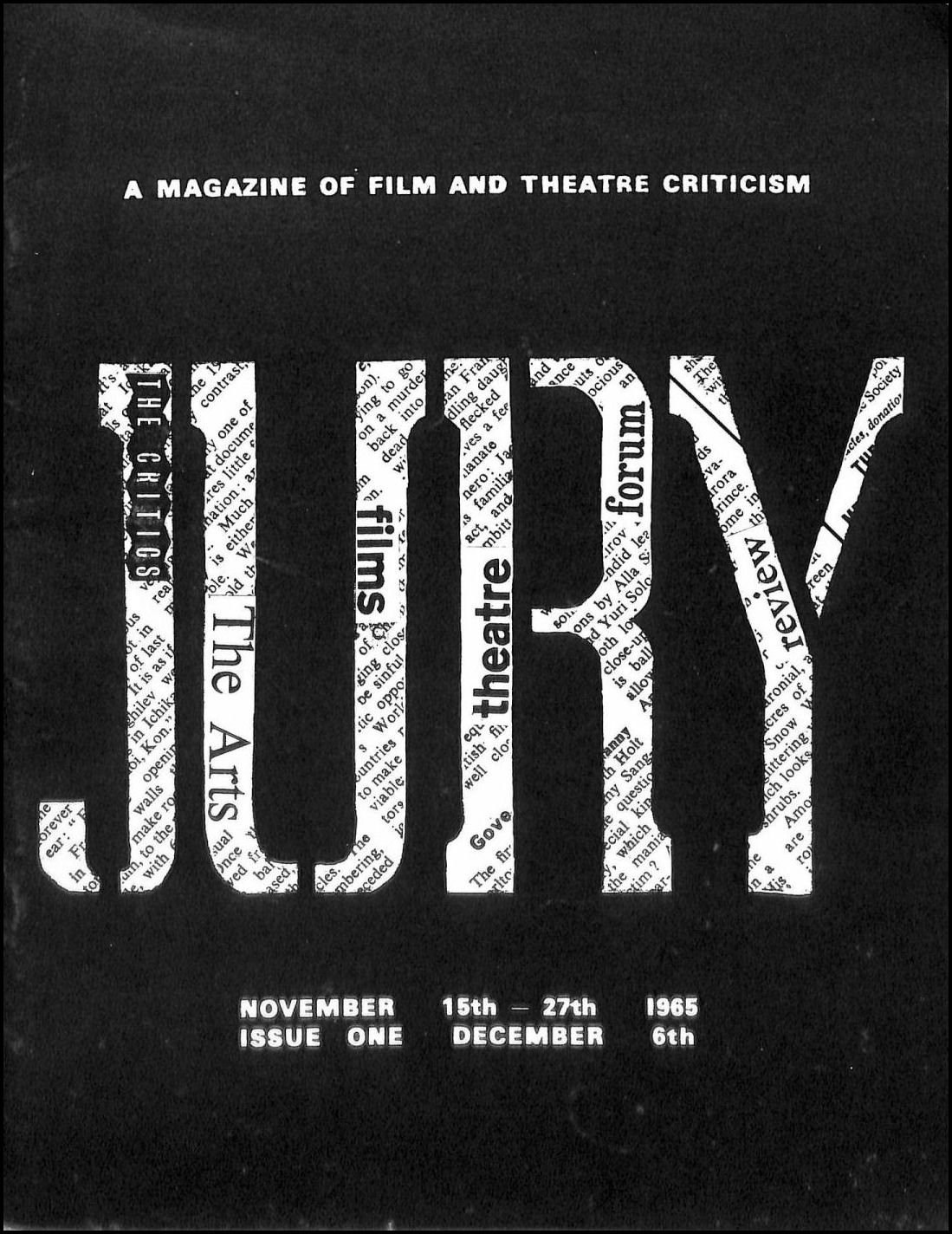 Image for Jury, A Magazine of Film and Theatre Criticism November 15th-27th 1965