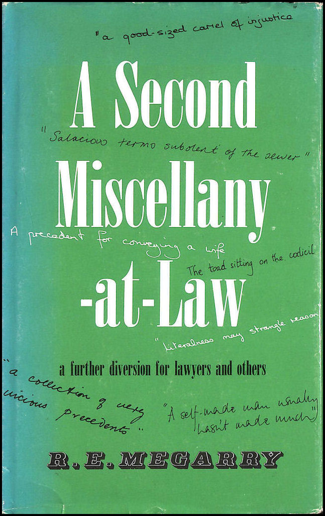 A Second Miscellany-at-law: A Further Diversion for Lawyers and Others, Megarry, Robert