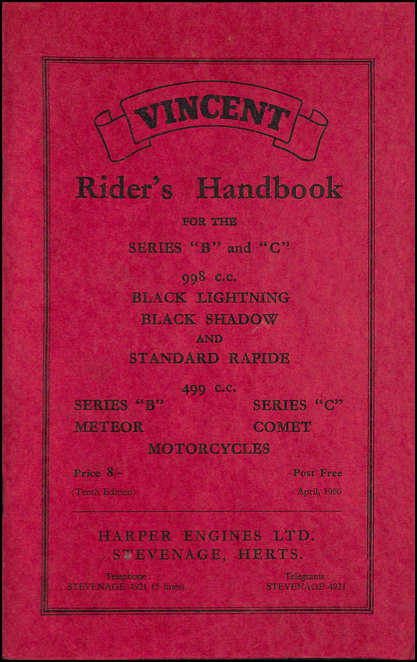Image for Rider's Handbook for Vincent Motorcycles Series B & C. Black Lightning, Black Shadow, Standard Rapide, Comet and Meteor.