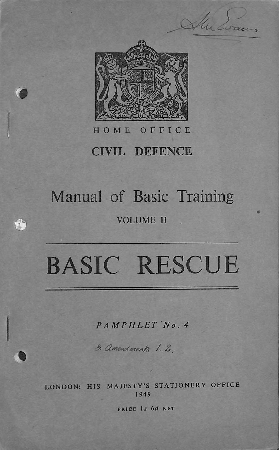 Image for Civil Defence Manual of Basic Training - Volume 2 (Two) - Basic Rescue - Pamphlet No 4 (Four)