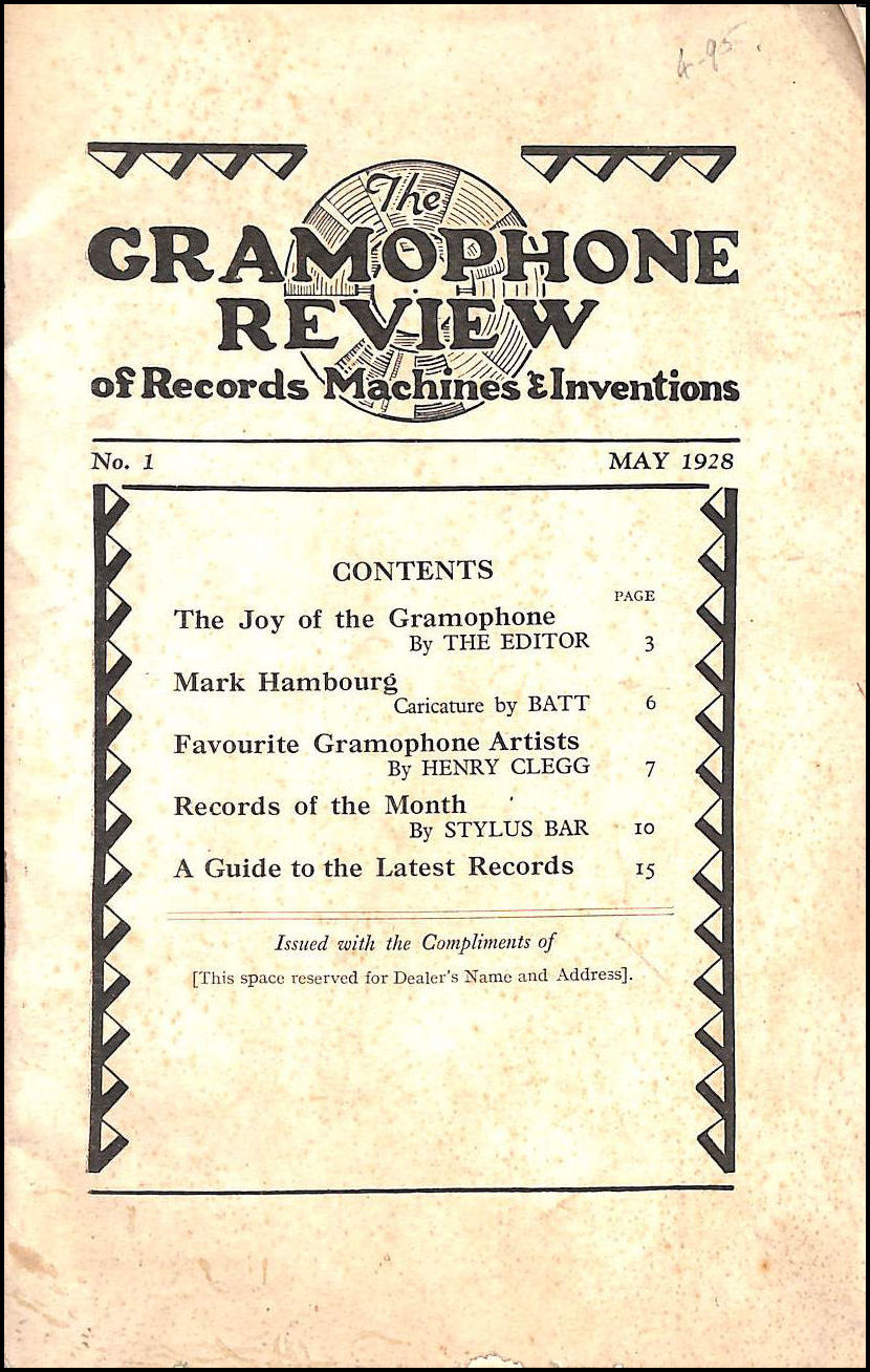 The Gramaphone Review of Records Machines & Inventions May 1928, The Editor