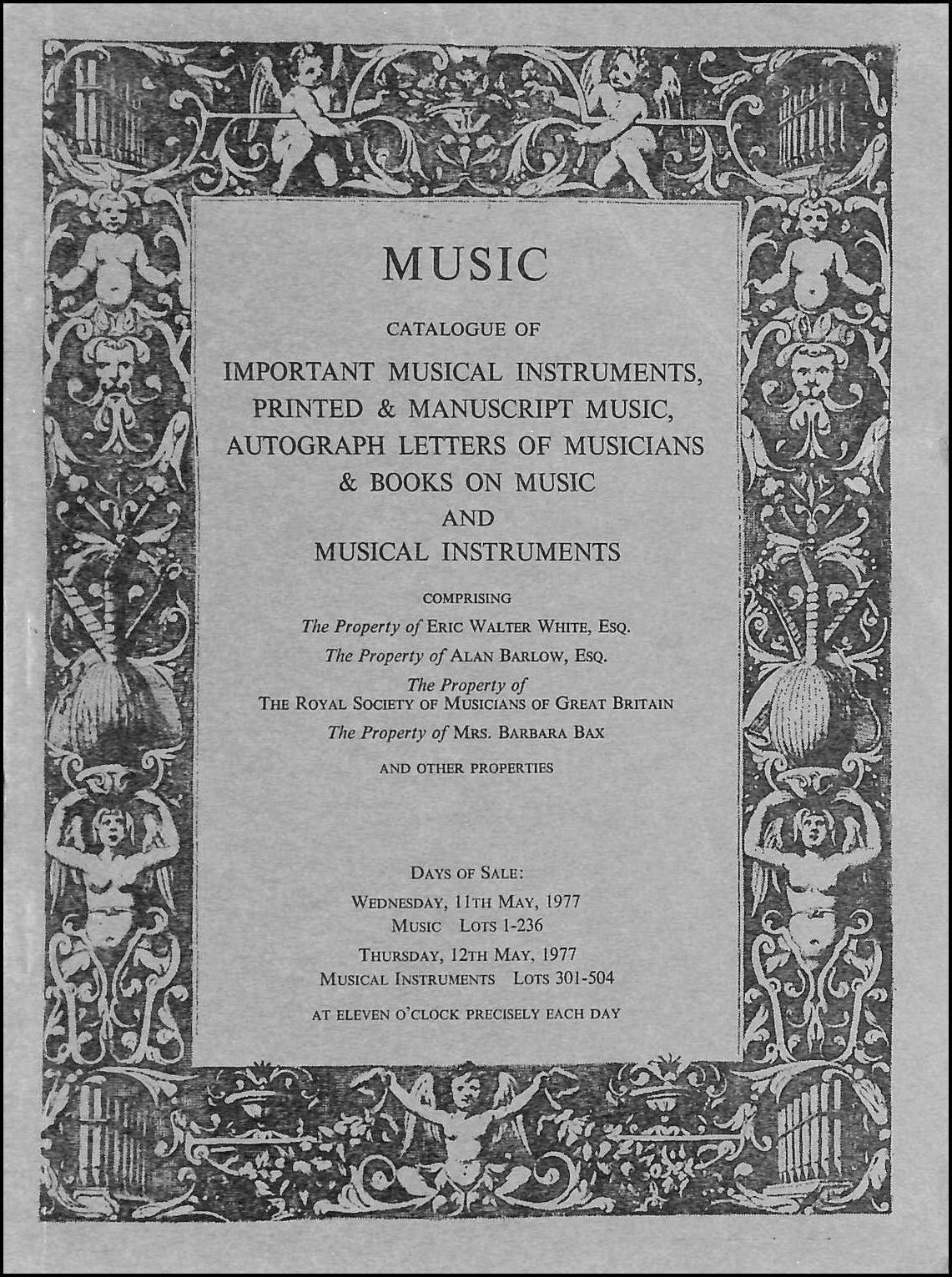 Music Catalogue of Important Musical Instruments 11th, 12th May 1977, Sotheby's
