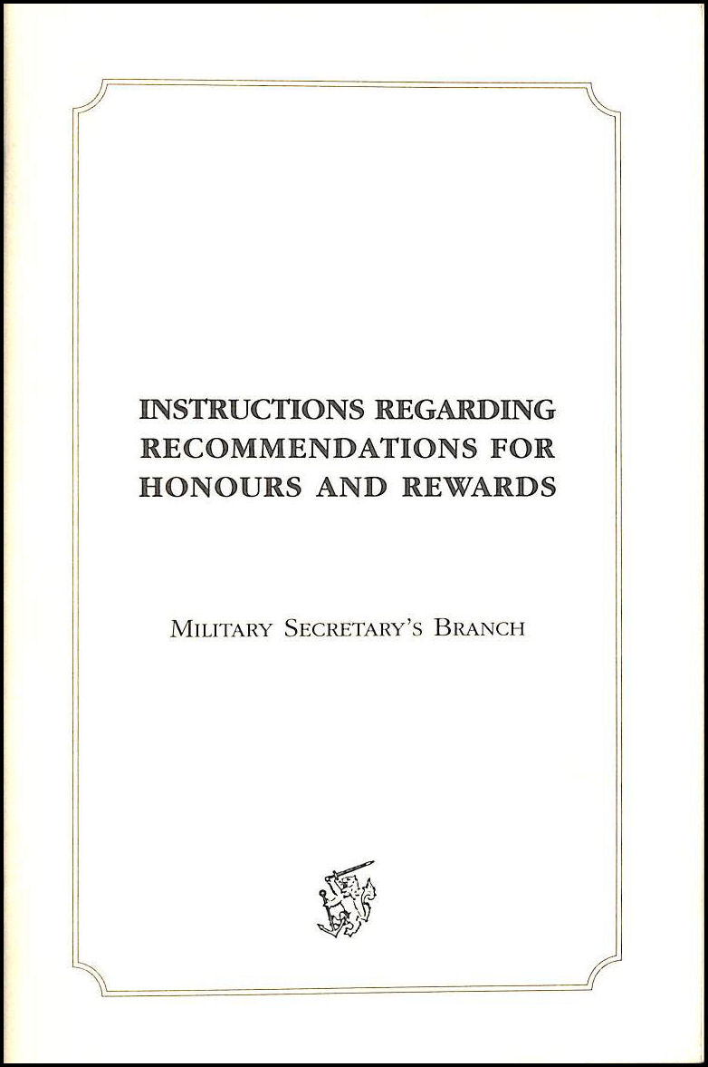 Image for Instructions Regarding Recommendations for Honours and Rewards