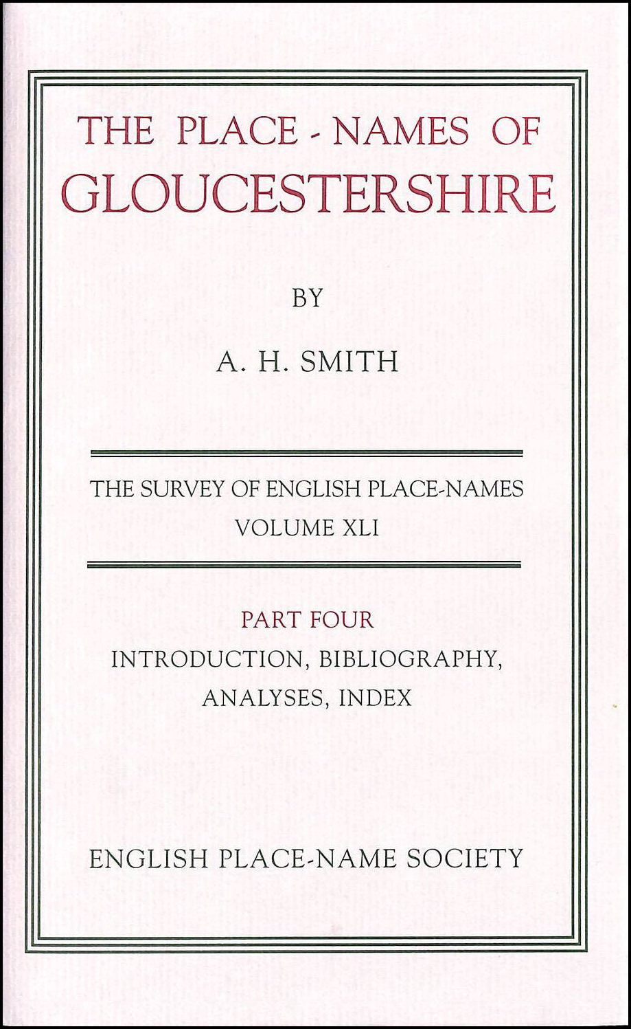 Image for Place-names of Gloucestershire: Pt. 4 (Survey of English Place-Names)