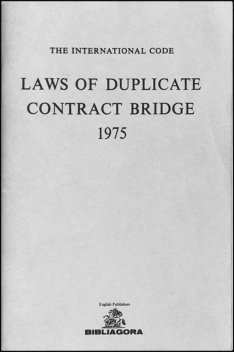 Image for Laws of Duplicate Contract Bridge 1975: International Code