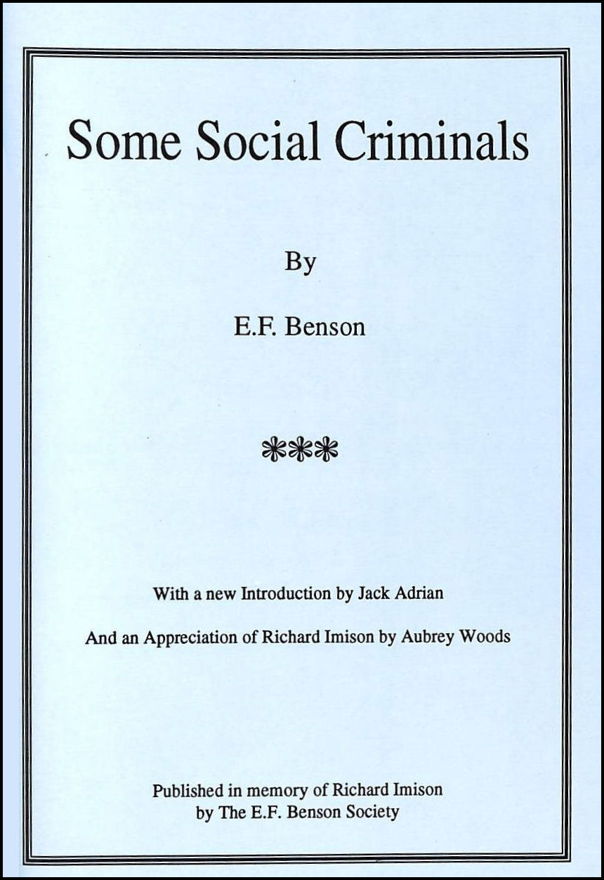 Some Social Criminals: Six Interlinked Stories - Originally Published in The Onlooker 1901, E.F. Benson