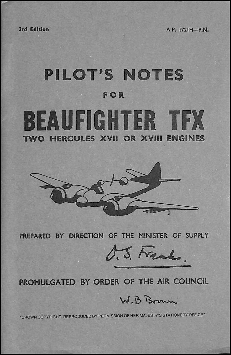 Beaufighter TFX  Pilots Notes