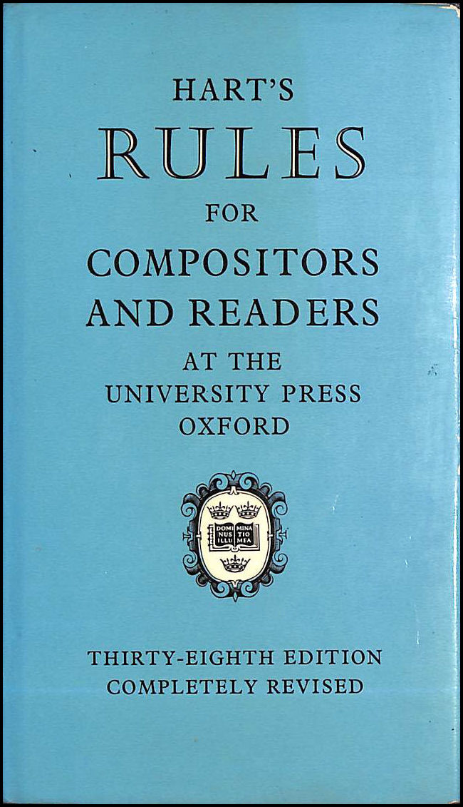 Rules for Compositors and Readers at the University Press, Oxford, Hart, Horace
