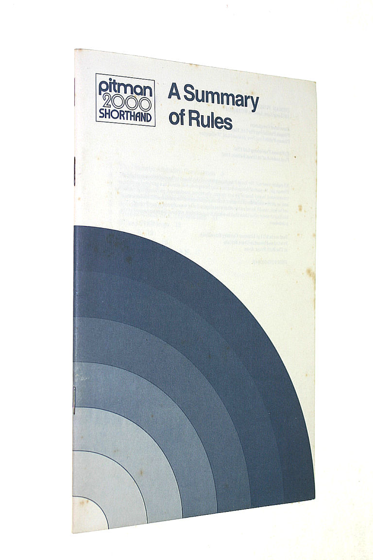 Image for Pitman 2000: Summary of the Rules (Pitman 2000 shorthand)