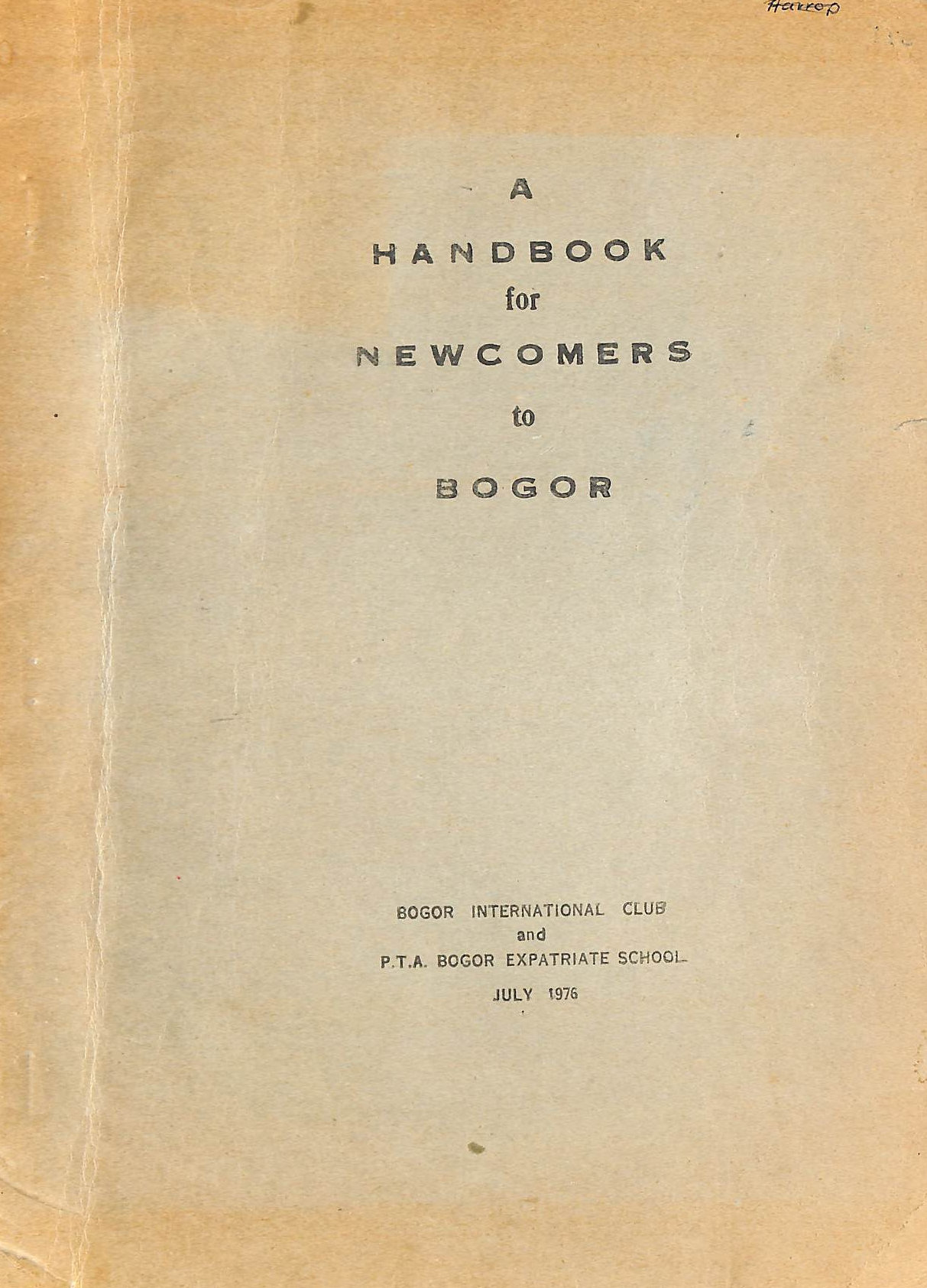 Image for A Handbook for Newcomers to Bogor