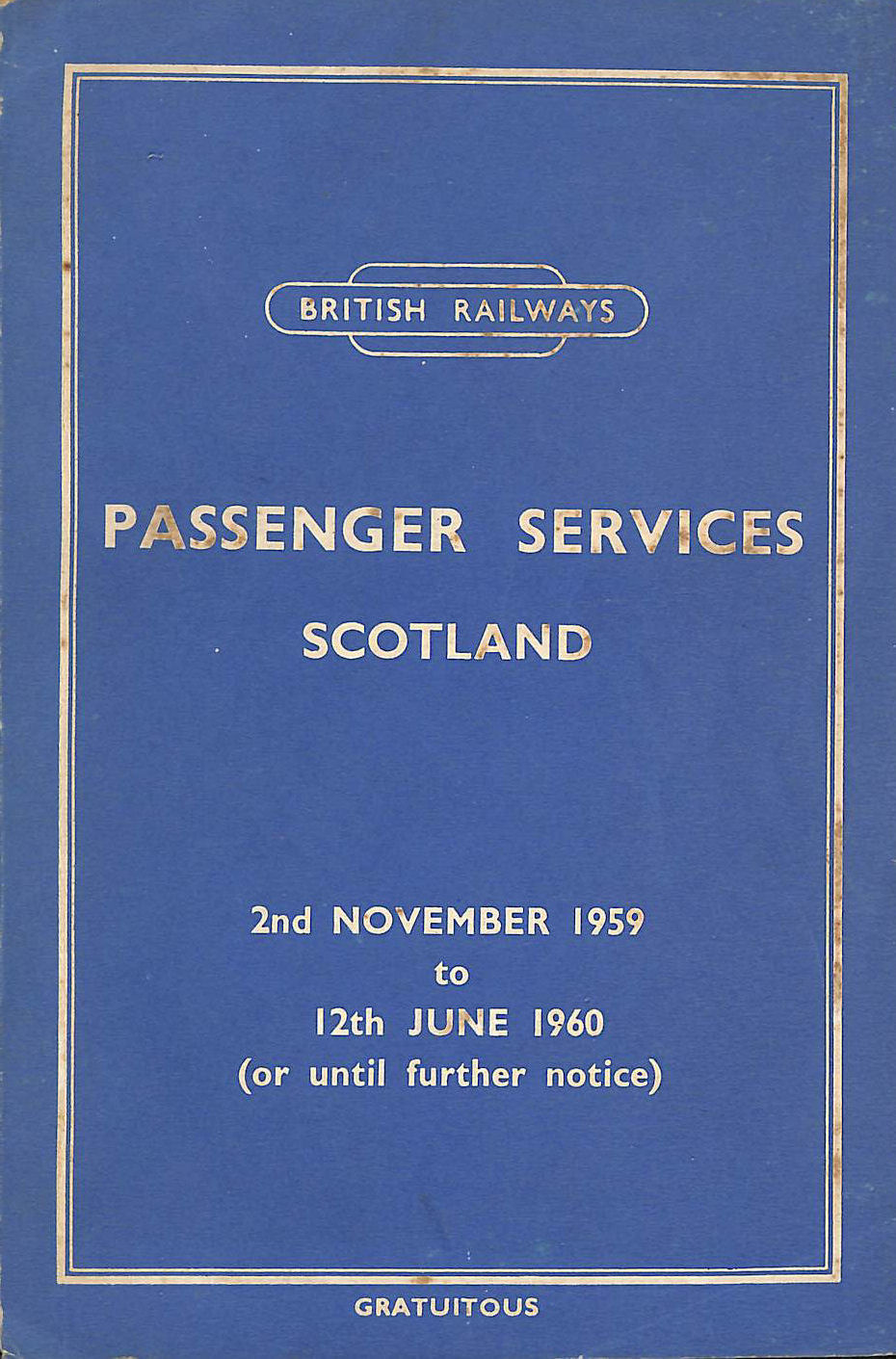 Image for Passenger Services Scotland 2nd November 1959 to 12th June 1960