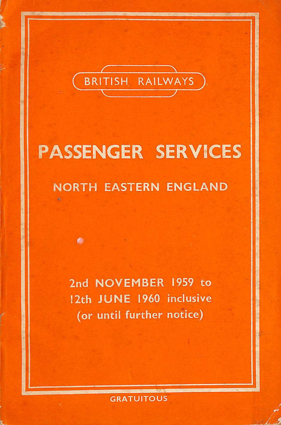 Image for Passenger Services North Eastern England 2nd November 1959 to 12th June 1960