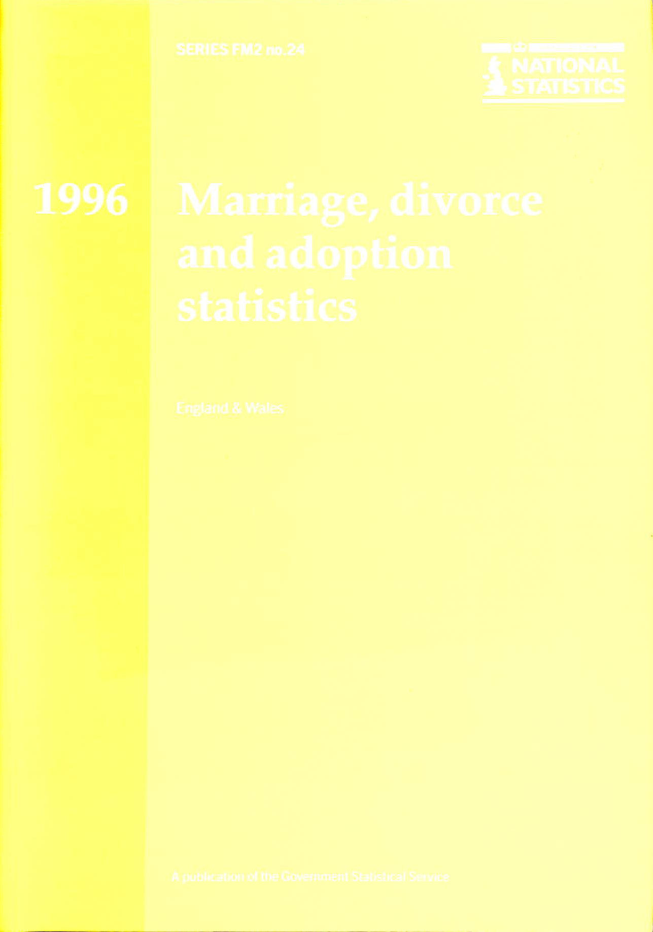 Image for Marriage, Divorce and Adoption Statistics 1996: Review of the Registrar General on Marriages, Divorces and Adoptions in England and Wales (Series FM2)