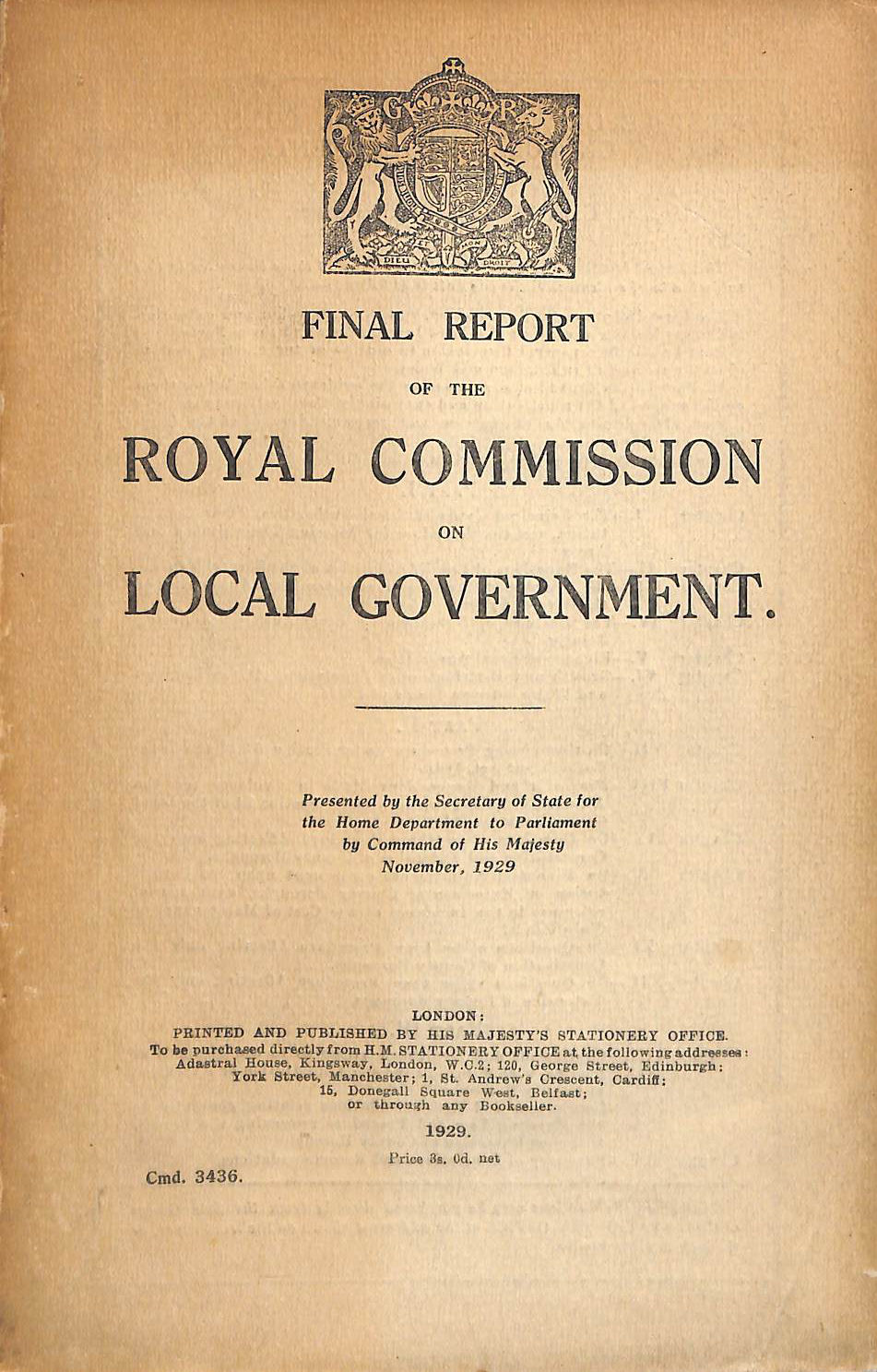 Image for Final Report Of The Royal Commission On Local Government