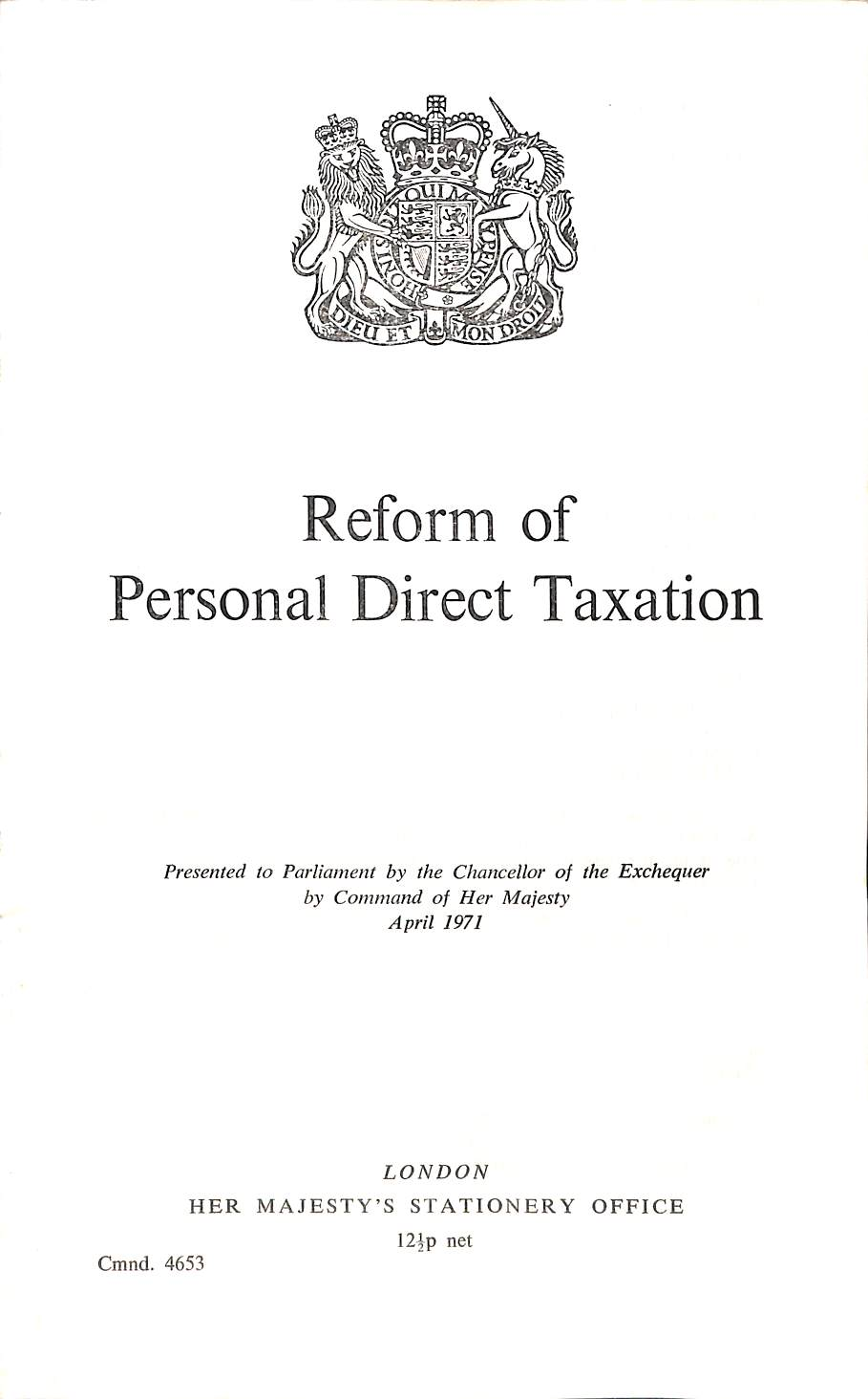 Image for Reform of personal direct taxation (Cmnd.4653)