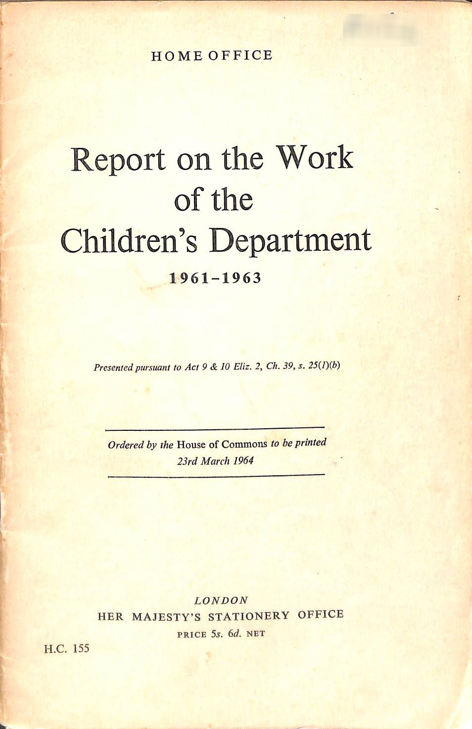 Image for Report on the Work of the Children's Department 1961 - 1963