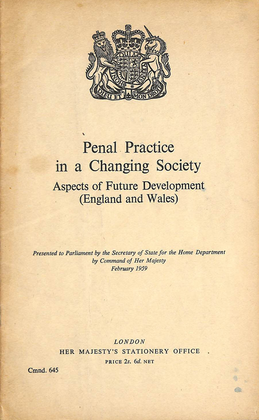 Image for Penal practice in a changing society: Aspects of future development (England and Wales) (Cmnd.645)