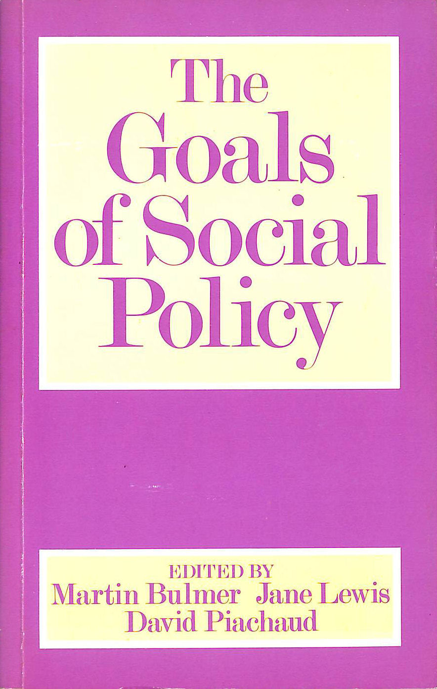 Image for The Goals of Social Policy