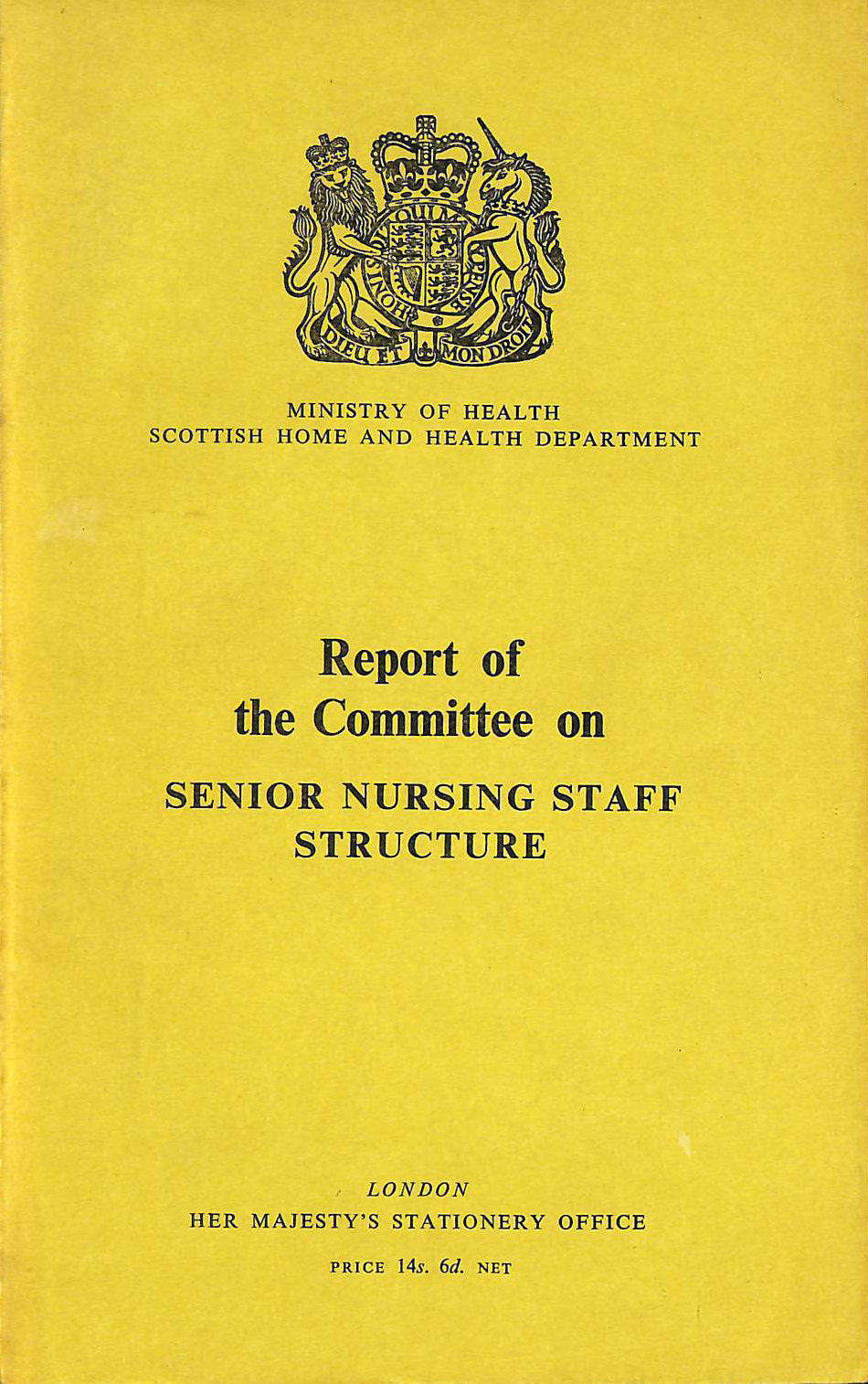 Image for Report of the Committee on Senior Nursing Staff Structure