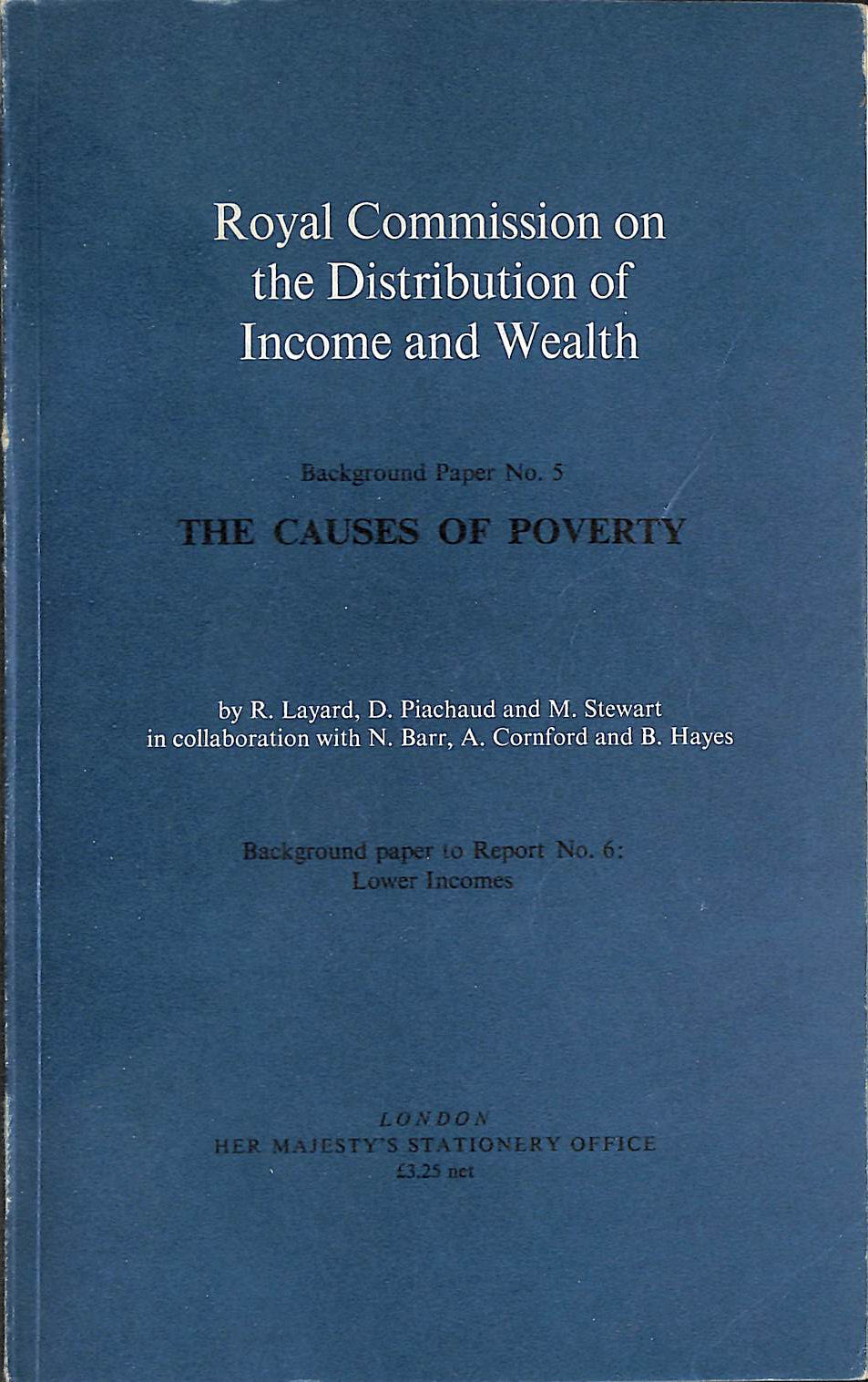 Image for Causes of Poverty (Background papers / Great Britain. Royal Commission on the Distribution of Income and Wealth)