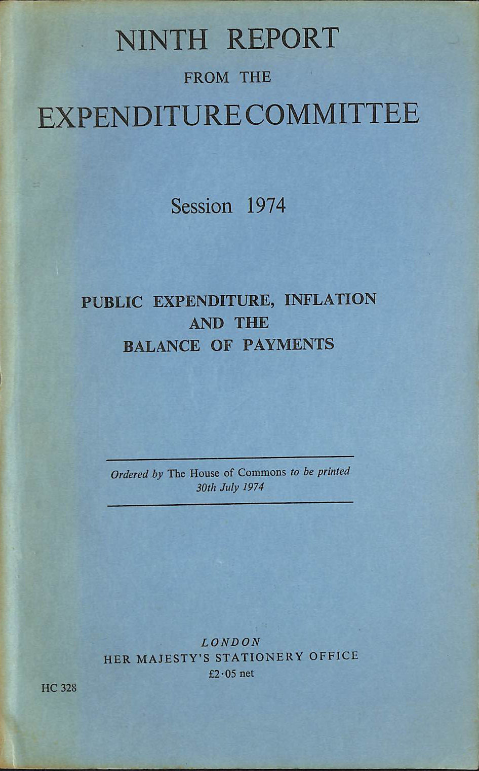 Image for Public expenditure, inflation and the balance of payments: Ninth report from the Expenditure Committee, session 1974 (1974 H.C.328)