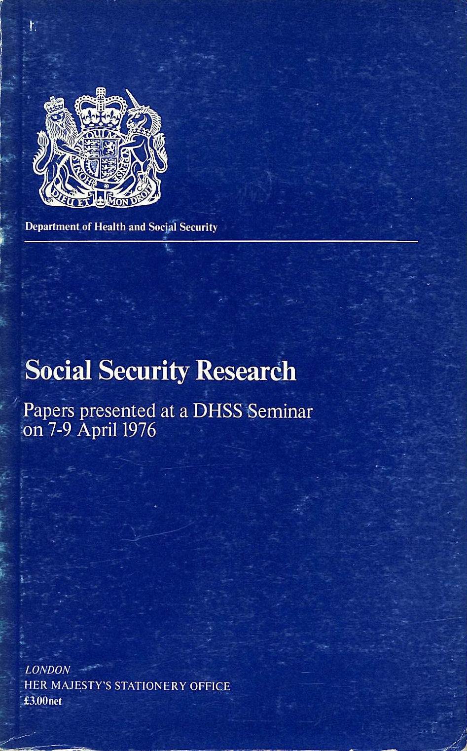 Image for Social Security Research: Seminar Papers, 1976