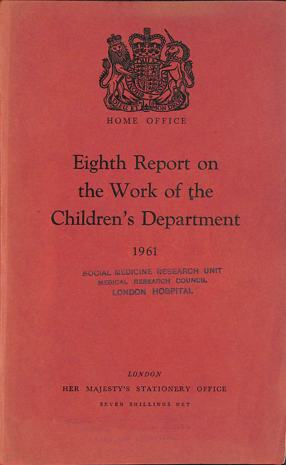 Image for Eighth Report on the Work of the Children's Department