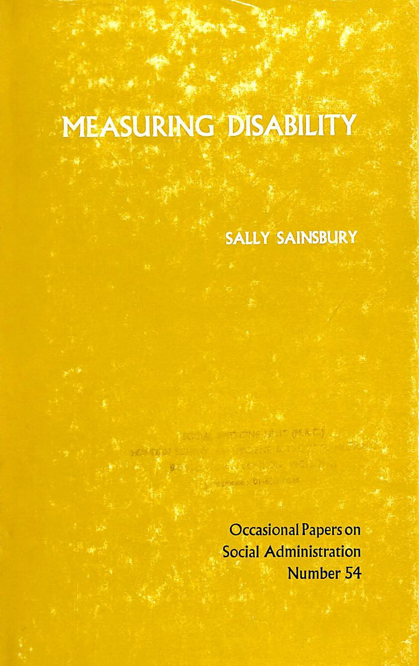 Image for Measuring Disability (Occasional papers on social administration)