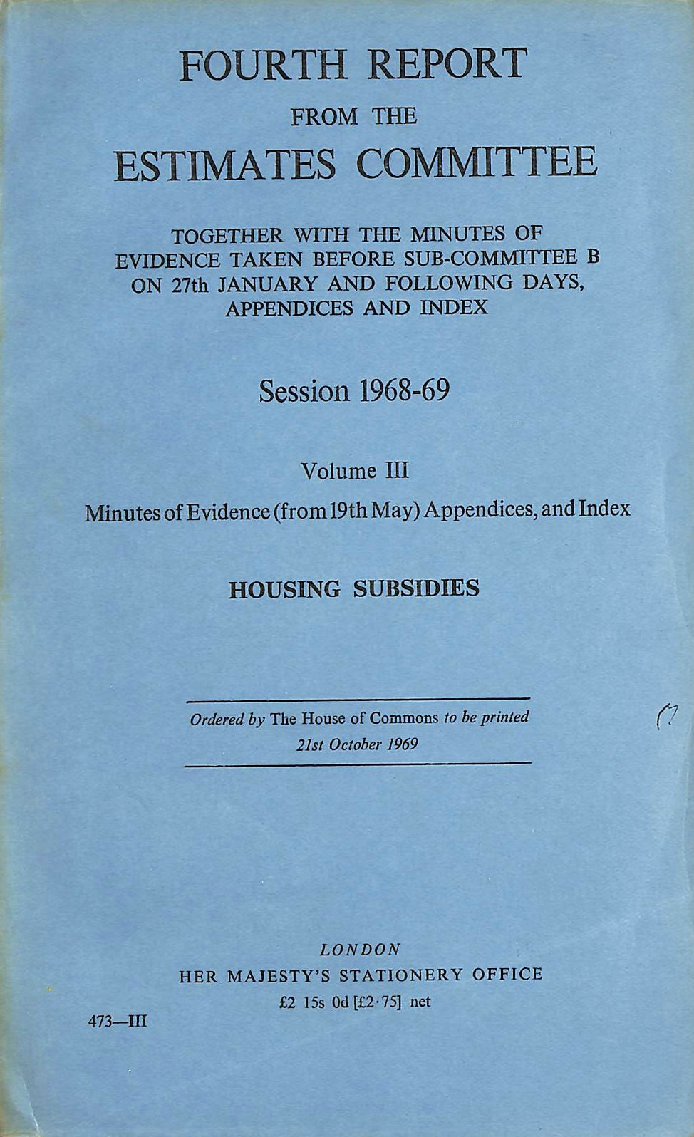 Image for Fourth Report from the Estimates Committee, Volume III