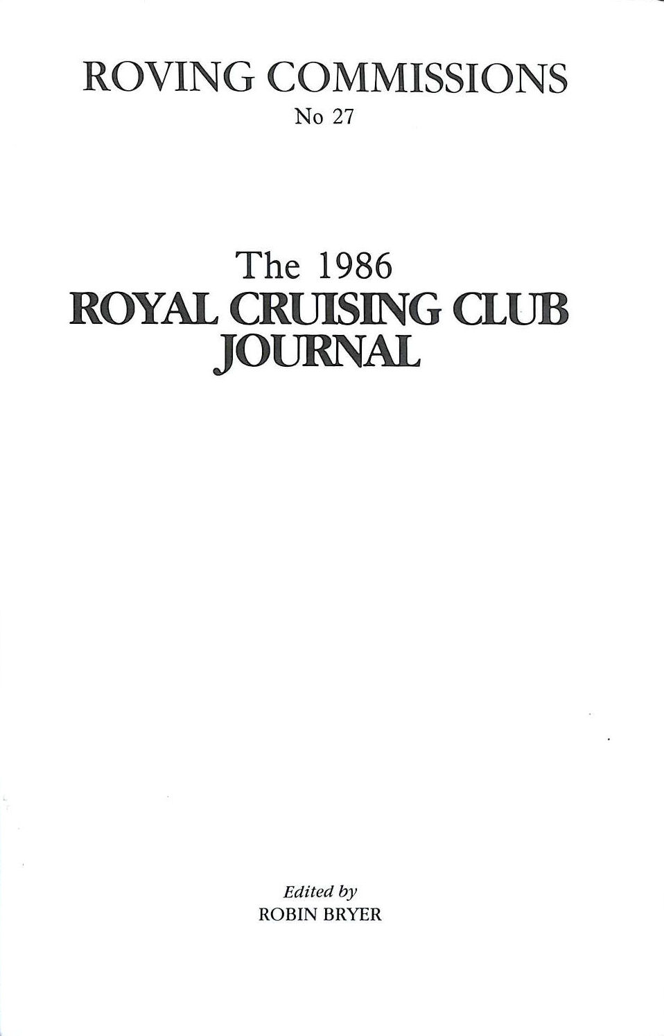 Image for Roving commissions No 27: the 1986 Royal Cruising Club journal