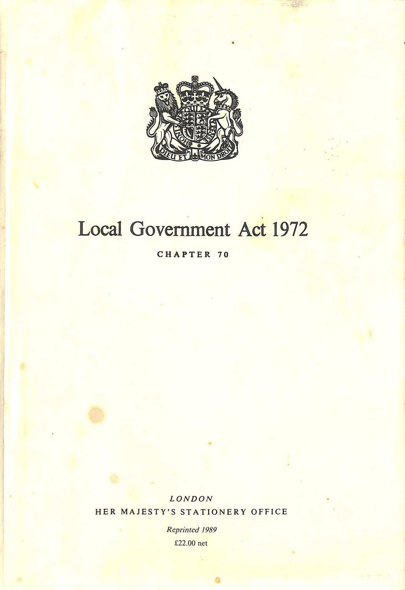Image for Local Government Act 1972: Elizabeth II. Chapter 70