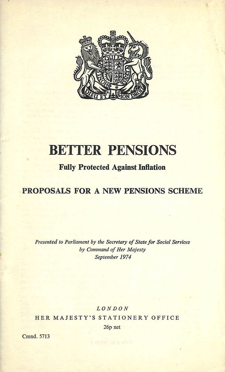 Image for Better Pensions: Proposals for a New Pensions Scheme (Command 5713)