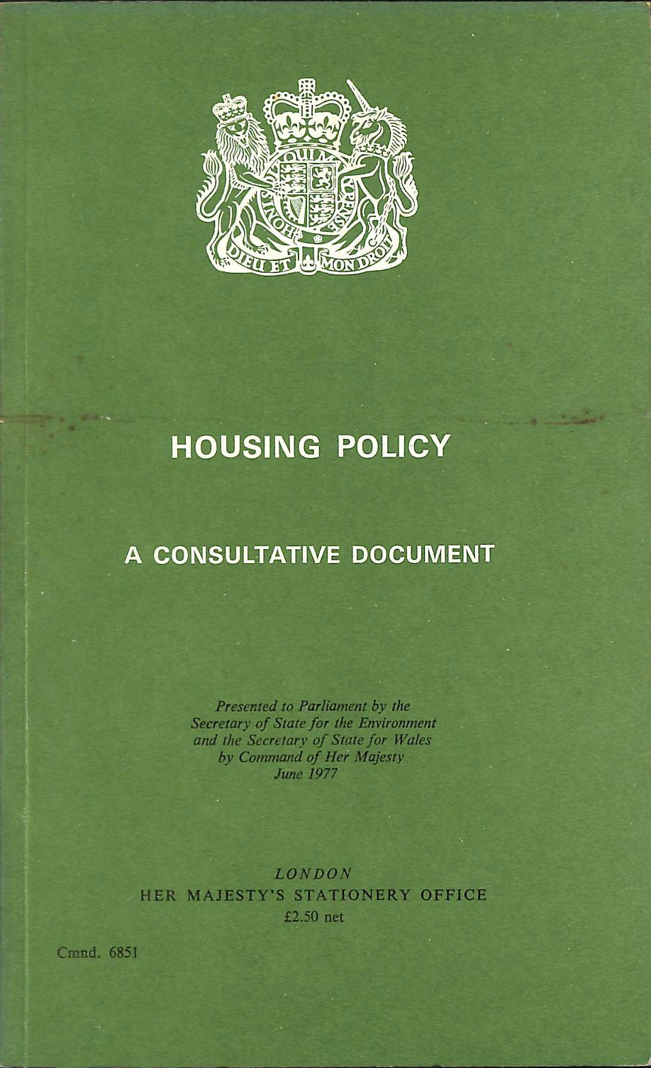 Image for Housing Policy: A Consultative Document (Command 6851)
