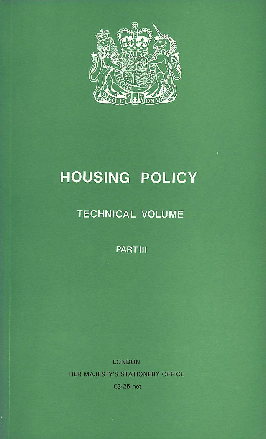Image for Housing Policy Technical Volume: Pt. 3