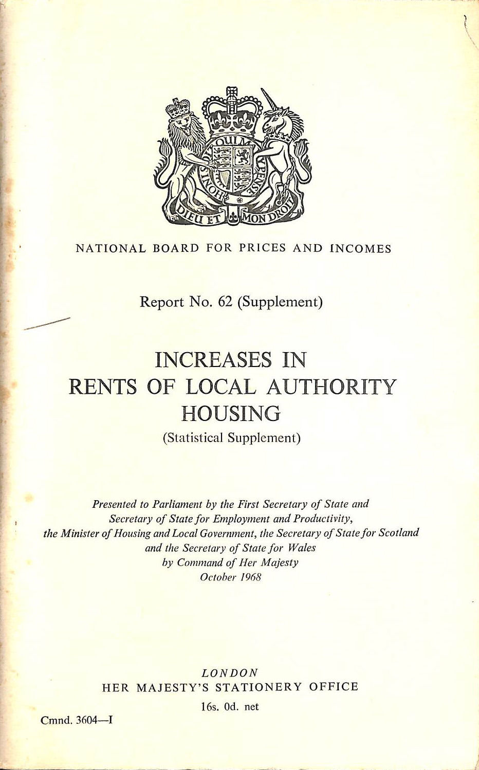 Image for Increases in rents of local authority housing (Cmnd. 3604-1)