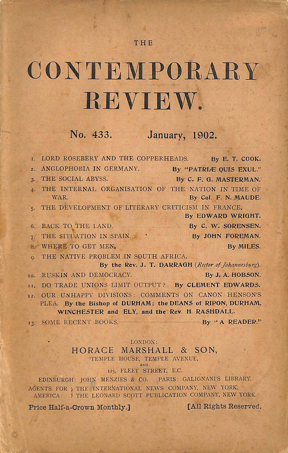 Image for The Contemporary Review No. 433 January 1902