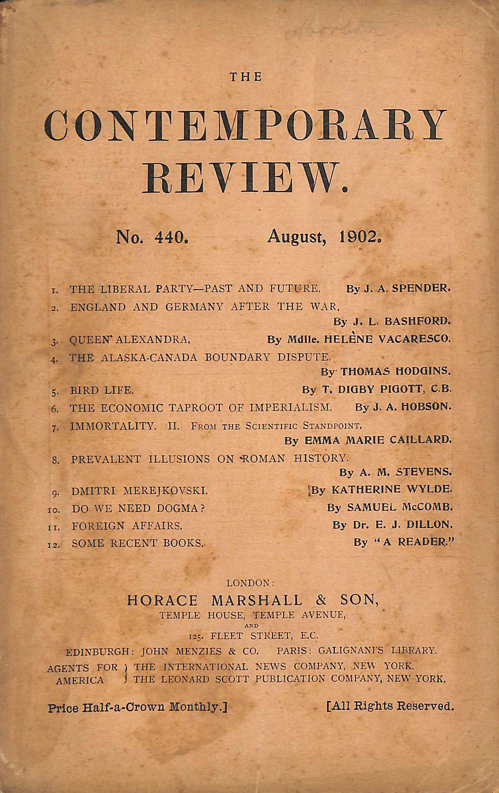 Image for The Contemporary Review No. 440 August 1902