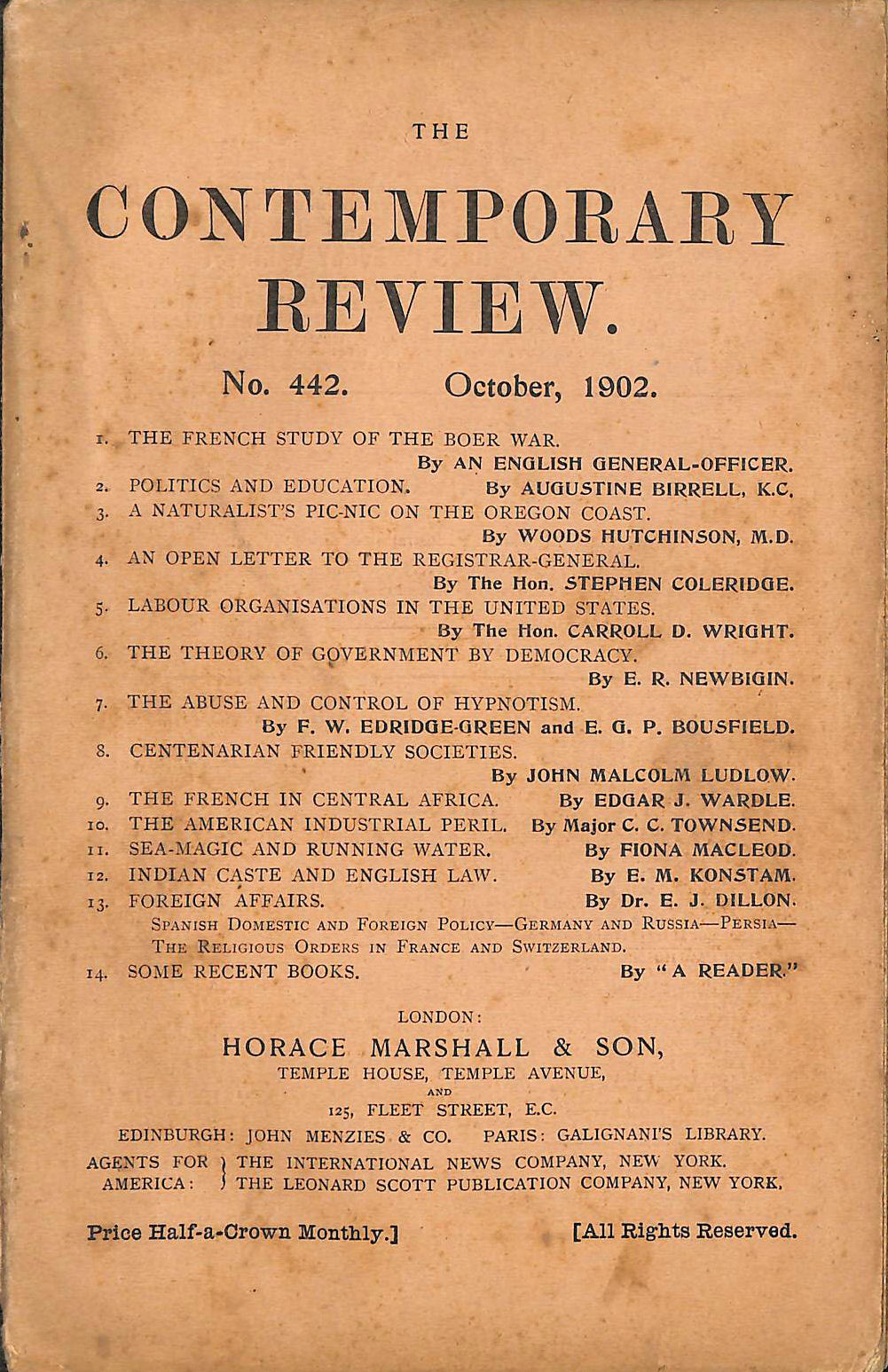 Image for The Contemporary Review No. 442 October 1902