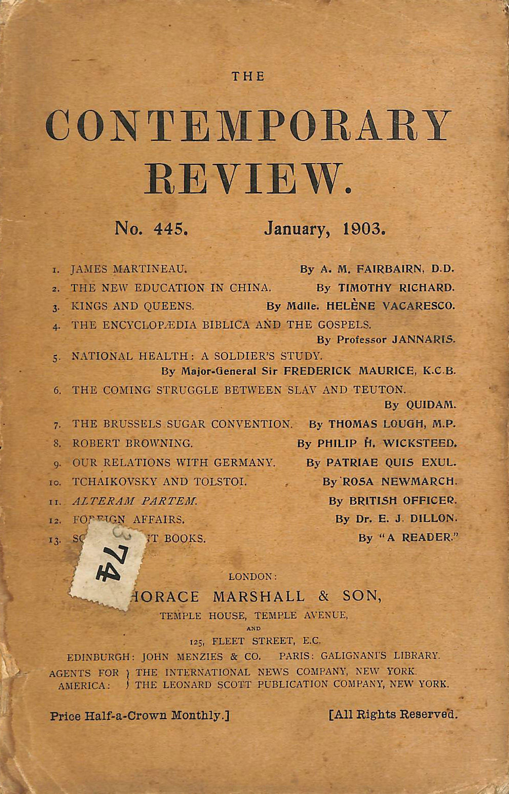 Image for The Contemporary Review No. 445 January 1903