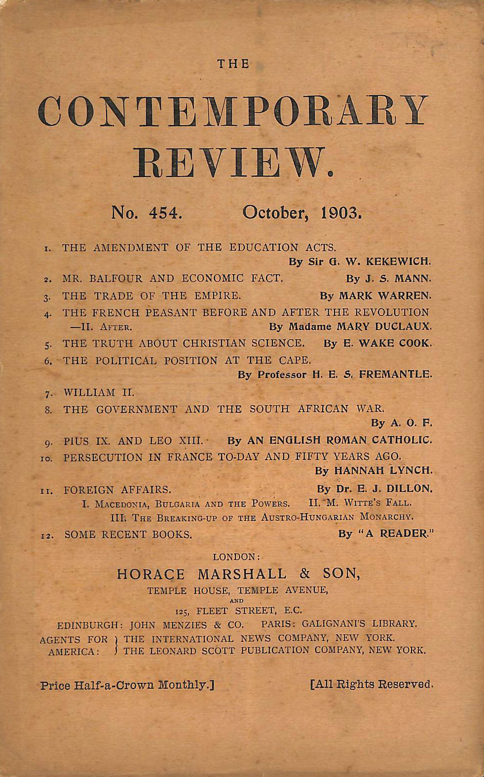 Image for The Contemporary Review No. 454 October 1903