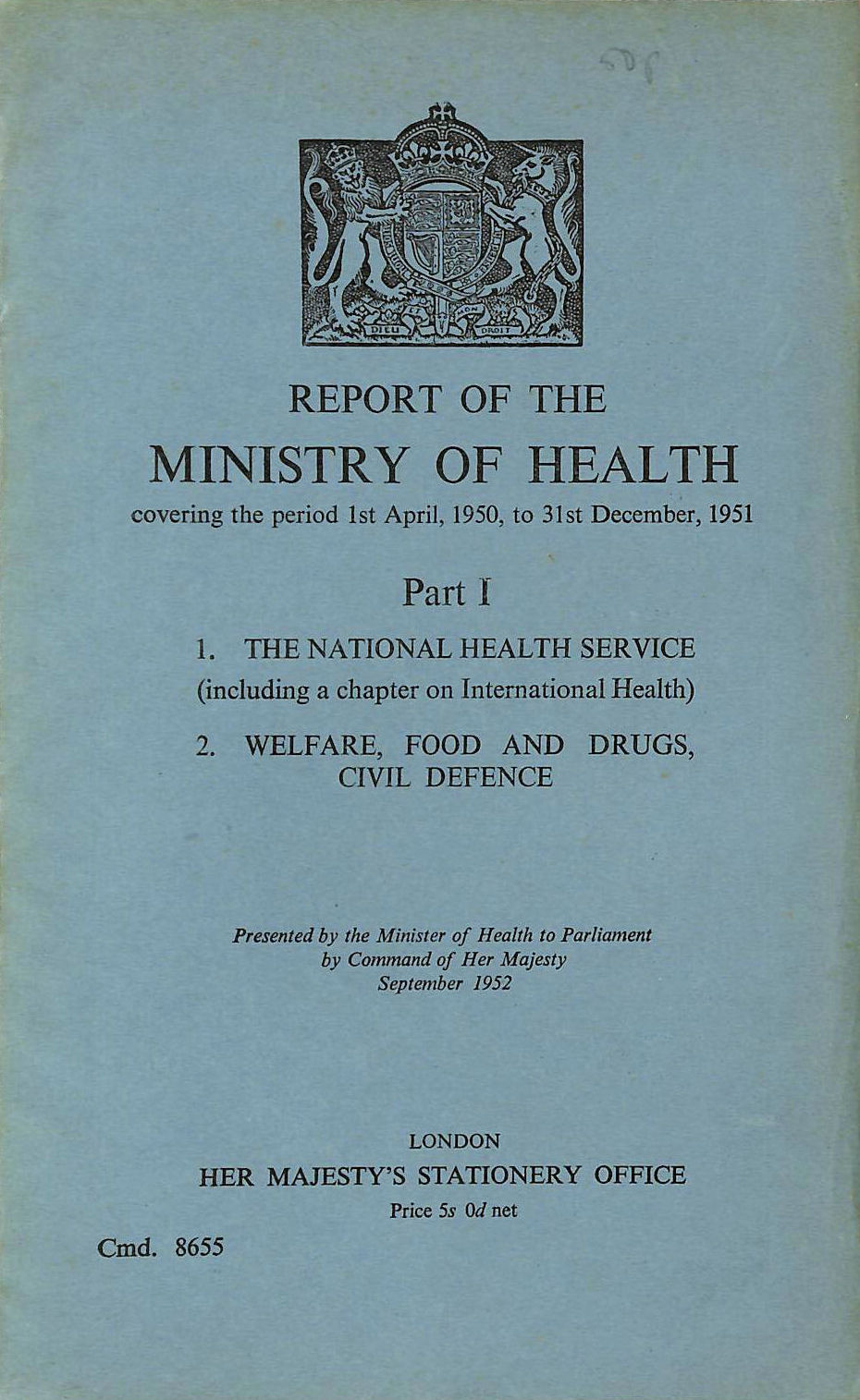 Image for Report of the Ministry of Health, Part I. 1951