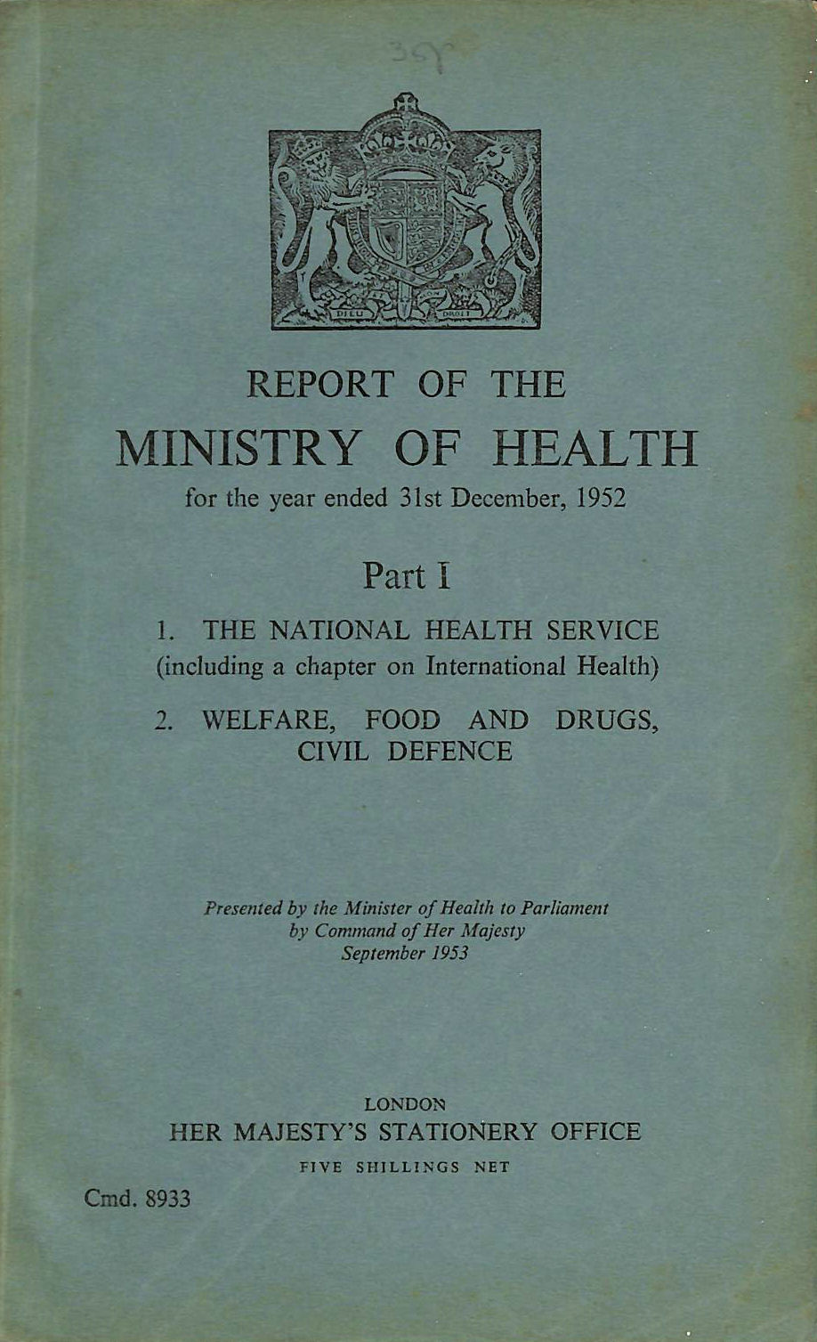 Image for Report of the Ministry of Health, Part I. 1952