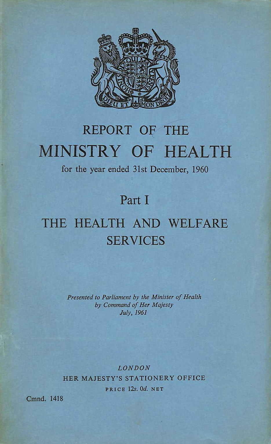 Image for Report of the Ministry of Health, Part I. 1960