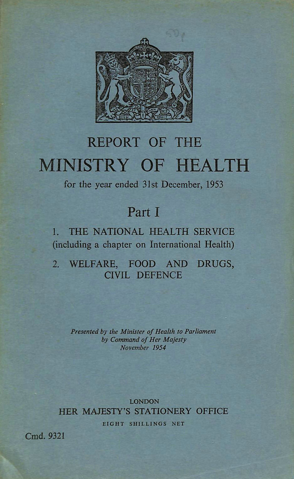 Image for Report of the Ministry of Health, Part I. 1953