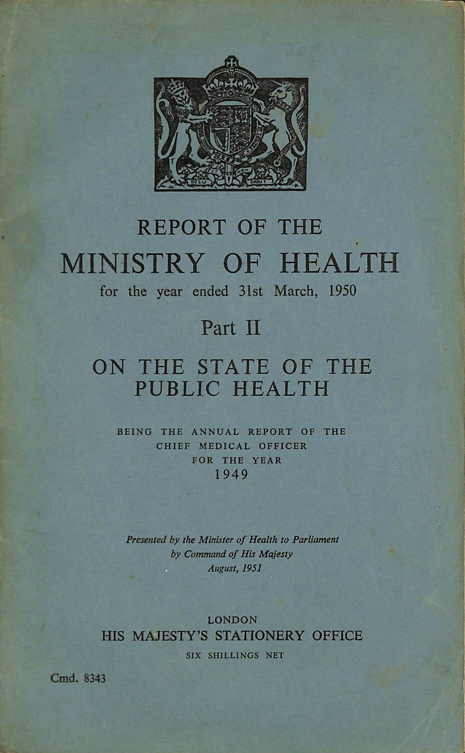 Image for Report of the Ministry of Health, Part II. 1950