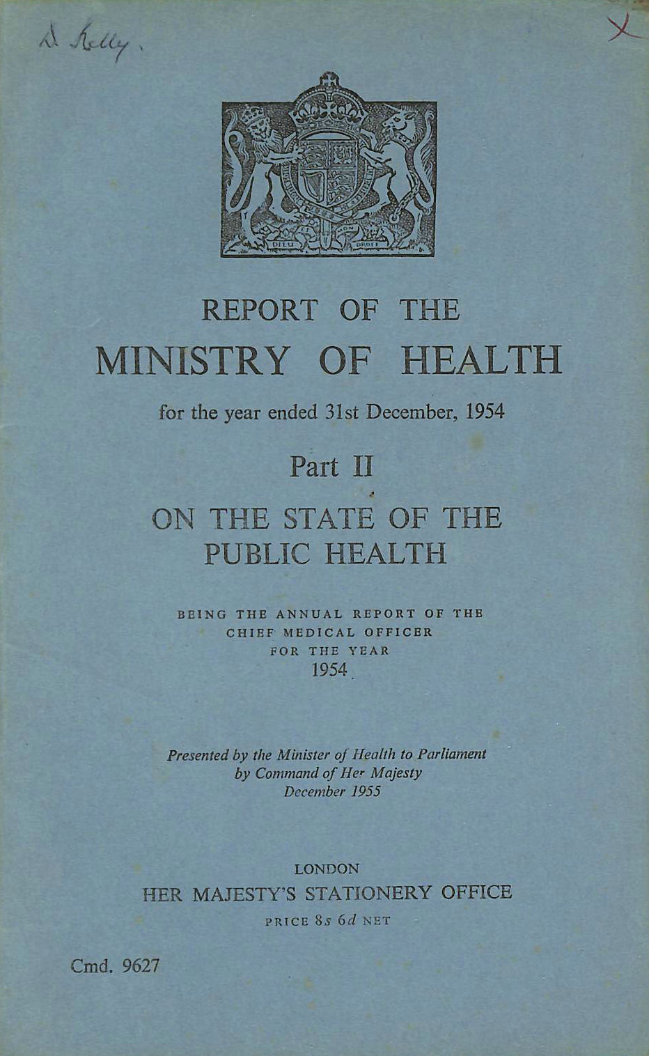 Image for Annual Report of the Chief Medical Officer of the Ministry of Health for the year 1954, Part II