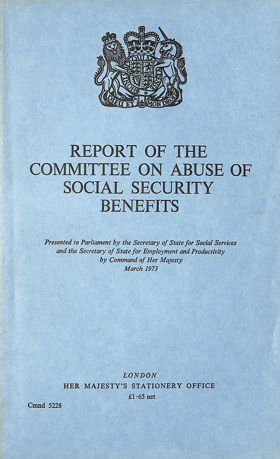 Image for Abuse of Social Security Benefits: Committee Report (Command 5228)