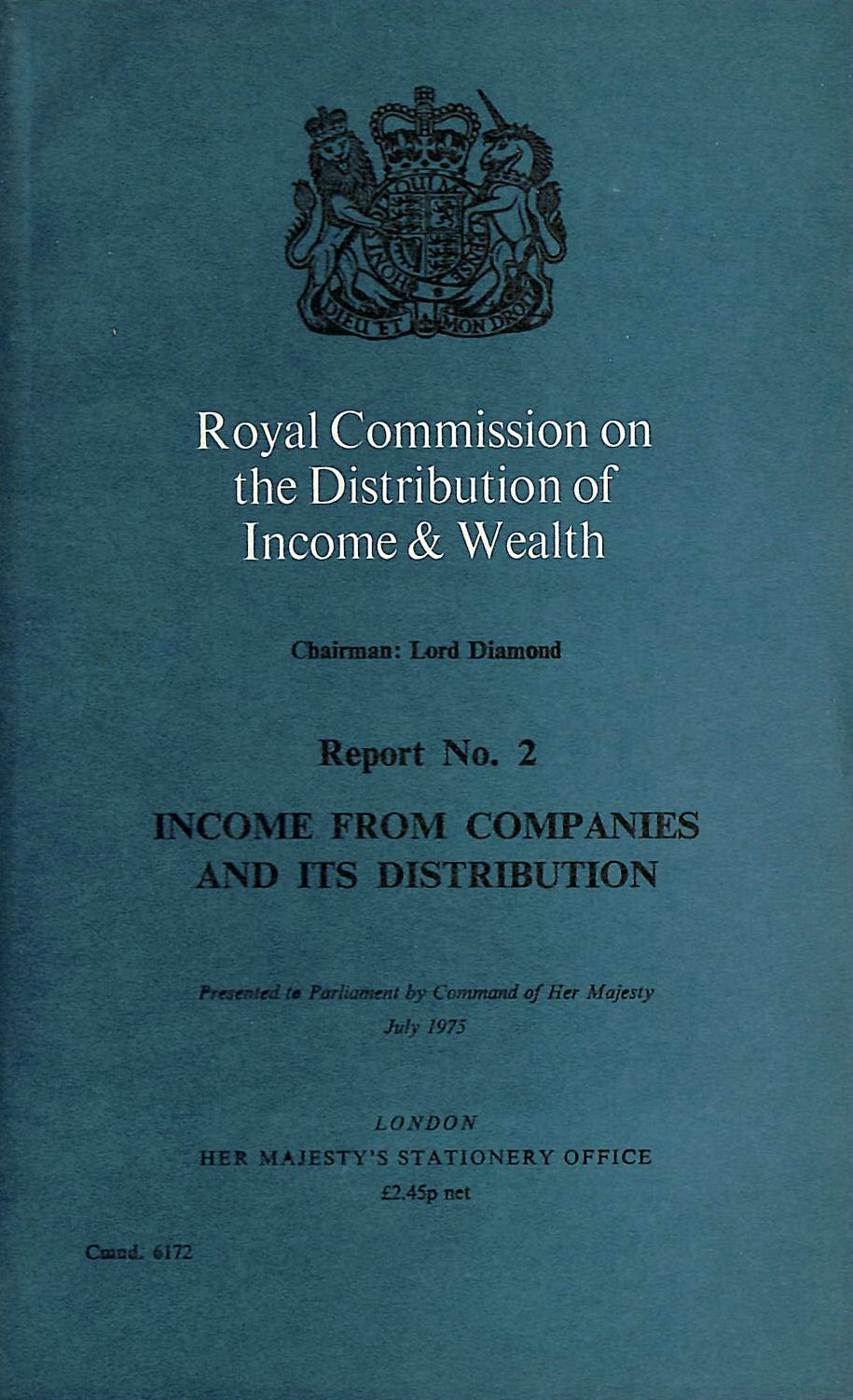 Image for Income from Companies and Its Distribution (Command 6172)