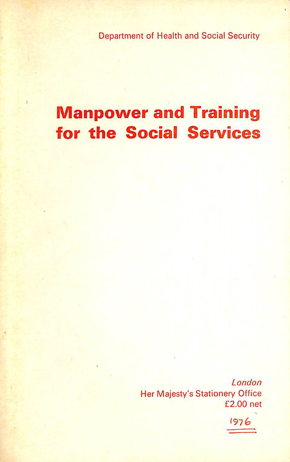 Image for Manpower and Training for the Social Services